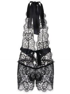 Halter Lace Playsuit - Black Xl