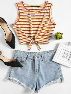 Ribbed Striped Crop Tank Top - Multi L