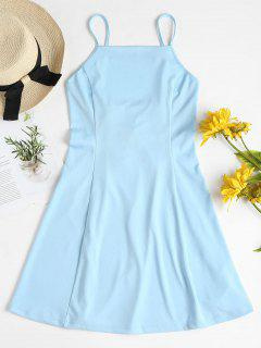 Slip Lace Up Mini Dress - Bleu Clair L
