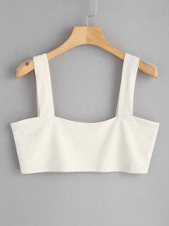 Square Ribbed Tank Top - Warm White L