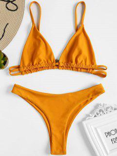 Bralette Bikini Con Tanga De Pierna Alta - Naranja Oscuro S