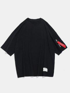 Casual Drop Shoulder Zip T-shirt - Black M