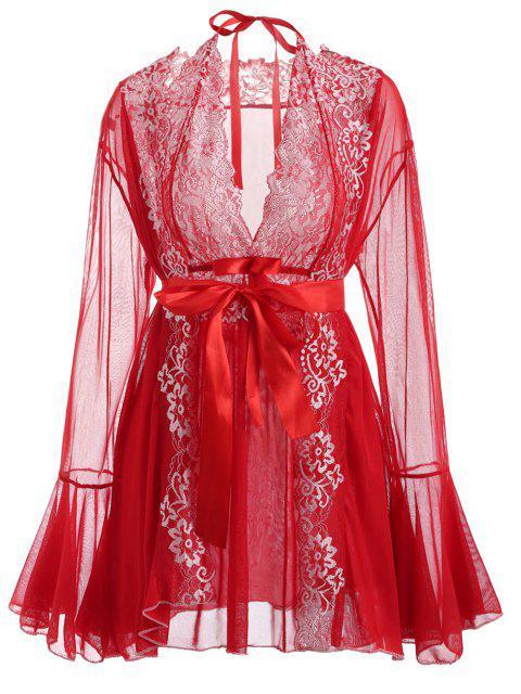 Conjunto de lencería de encaje y malla - Amo Rojo Única Talla Mobile