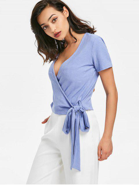 Wrap Ribbed Top - Azul Pizarra Claro M Mobile