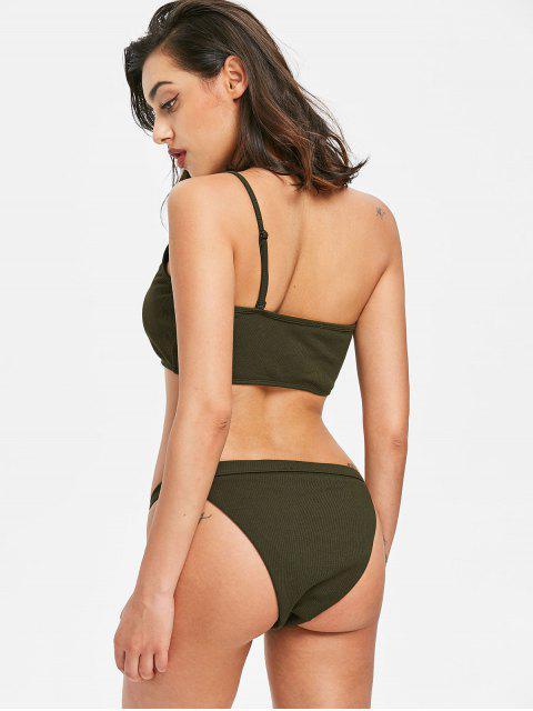 buy Ribbed One Shoulder String Bikini - DARK FOREST GREEN L Mobile