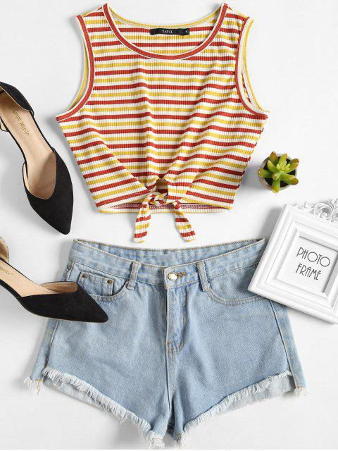 best Ribbed Striped Crop Tank Top - MULTI M Mobile