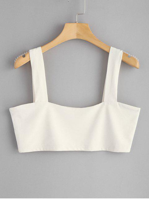 outfits Square Ribbed Tank Top - WARM WHITE L Mobile