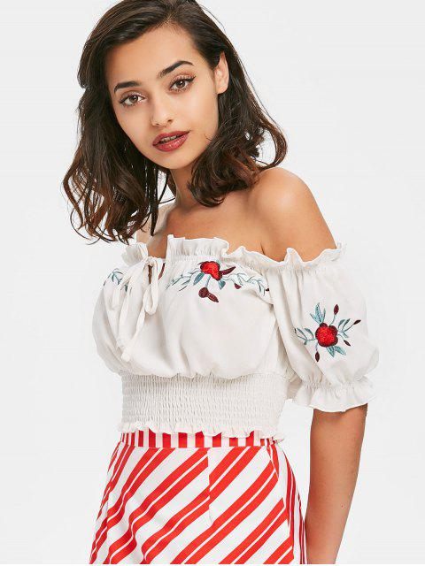 Off Shoulder Shirred Top - Blanco L Mobile
