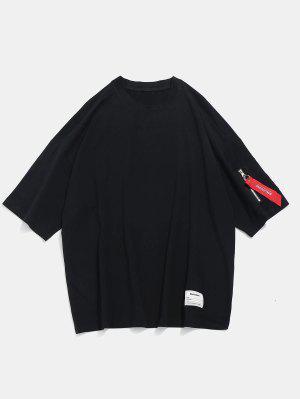 Drop Schulter Reißverschluss Freizeit T-Shirt