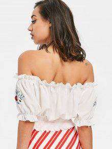 eb8f8a53aaf 21% OFF] 2019 Off Shoulder Shirred Top In WHITE | ZAFUL