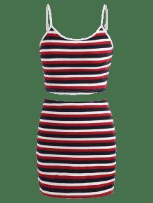 De Falda Rojo De Dos Striped L Cami Conjunto Piezas vIatt7qx