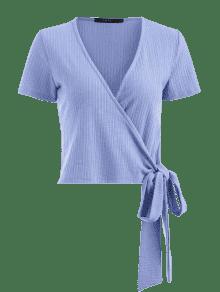 Ribbed Wrap Top Azul Pizarra S Claro 8d7qBdwP