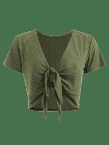 Camiseta S Con Anudada Verde Cuello Ejercito Anudado gg7xqwr