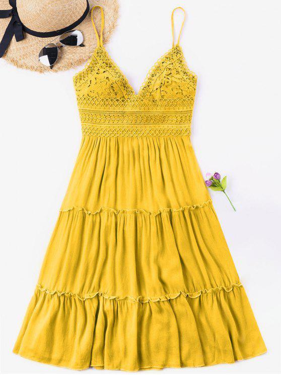 Vestido de espalda de ganchillo con cintura y lazo - Amarillo Brillante M