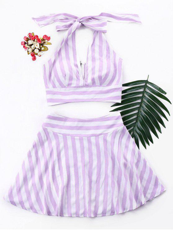 Stripe Crop Top y falda Set - Color de malva L