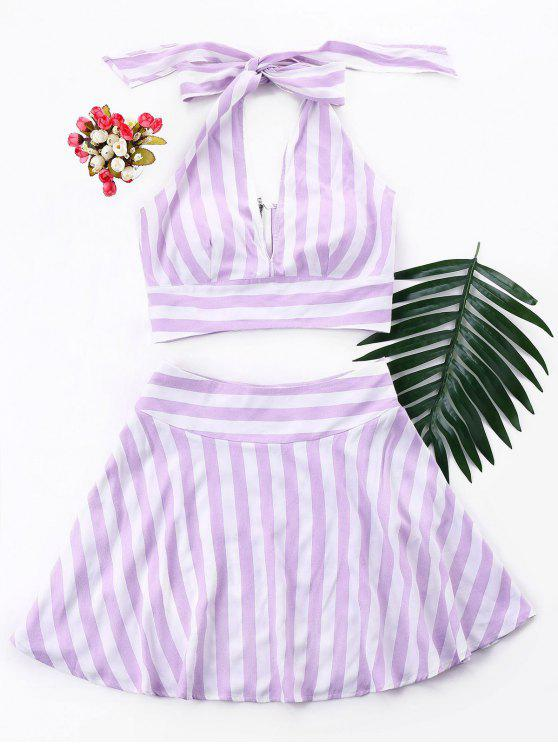 buy Stripe Crop Top and Skirt Set - MAUVE XL