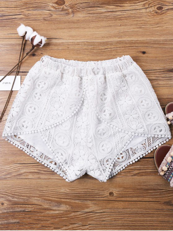 trendy Lace Overlay Wrap Shorts - WHITE L