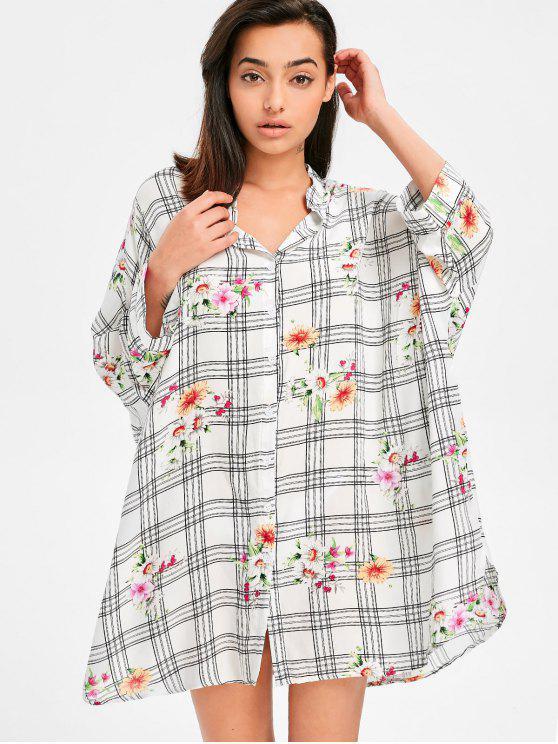 Vestido de camisa floral de tartán con manga murciélago - Blanco S