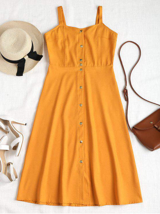 ladies Button Down Midi Dress - GOLDEN BROWN M