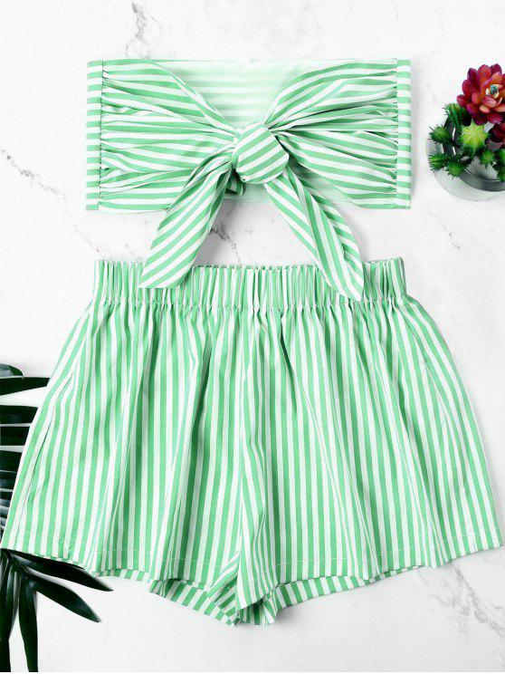 sale Knot Bandeau Top with Striped Shorts Set - FROG GREEN XL