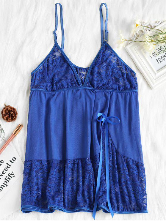 online Piping Lace and Mesh Babydoll - ROYAL BLUE XL