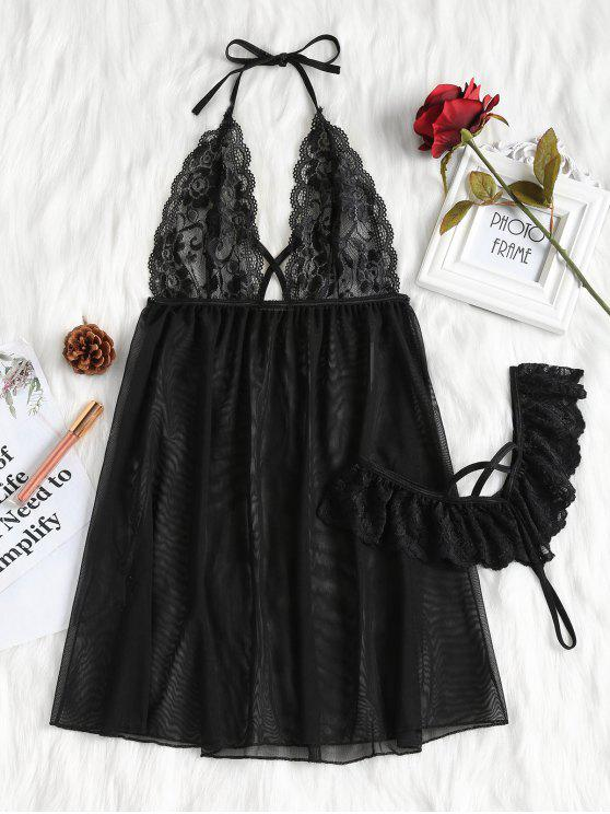 outfits Halter Lace-detail Mesh Babydoll - BLACK L