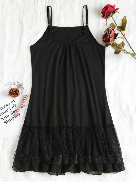 chic Layered Ruffles Nightdress - BLACK XL
