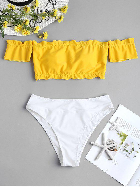lady Two Tone Off Shoulder Bikini - YELLOW M