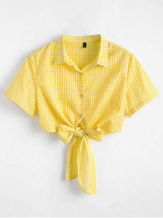 unique Tie Front Gingham Top - YELLOW M
