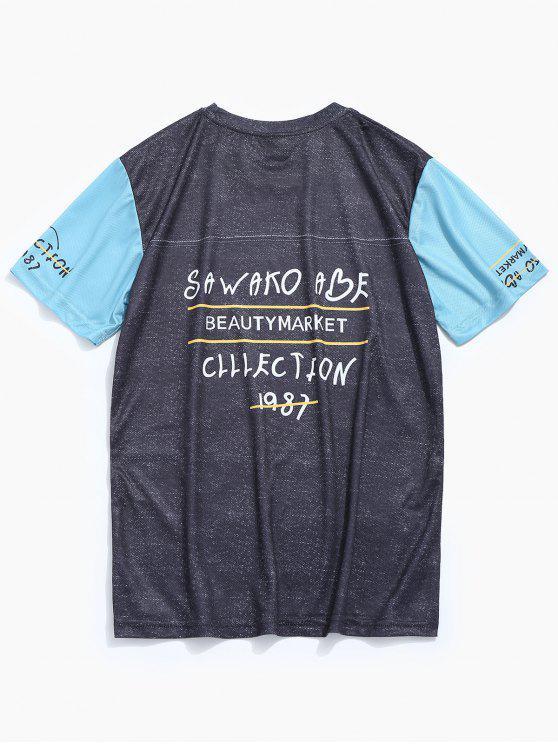 T-shirt Base-ball Imprimé à Manches Courtes - Gris 2XL