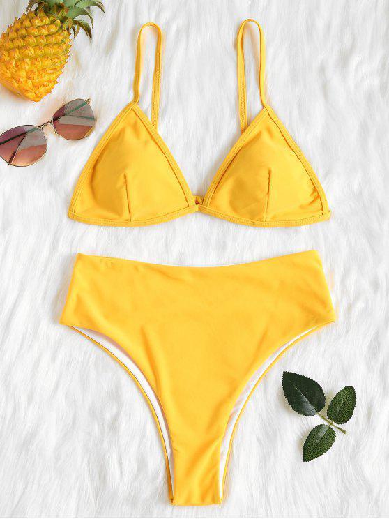 Conjunto de Bikini de talle alto acolchado - Amarillo Brillante S