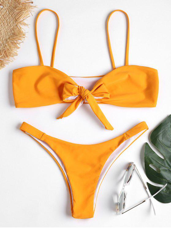 Tie Front Bikini Set - زعفران M