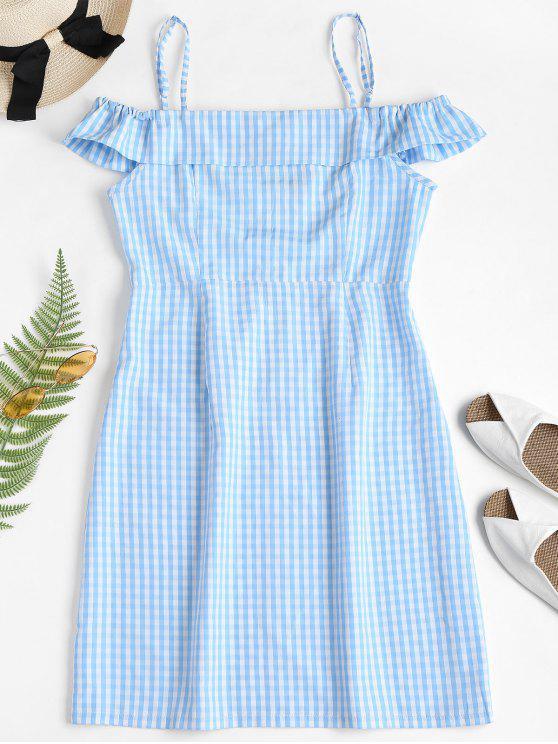 Mini vestido de guinga con hombros descubiertos - Azul Claro M