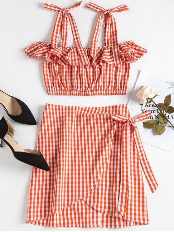 Conjunto de falda a cuadros de pliegue en dobladillo - Naranja Impactante  S