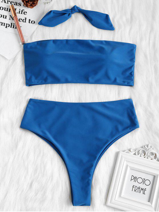 hot High Cut Convertible Bandeau Bikini Set - BLUE EYES M