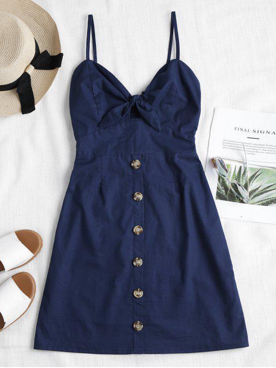 new Tie Front Mini Skater Dress - DEEP BLUE M