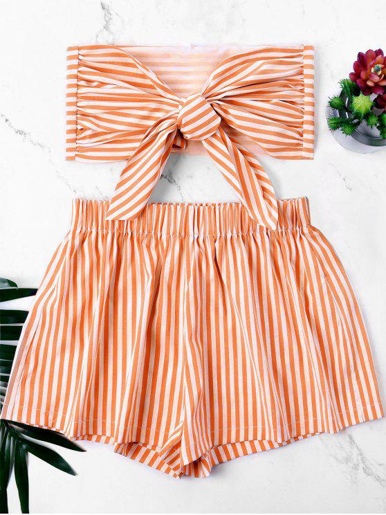 women Knot Bandeau Top with Striped Shorts Set - DARK ORANGE XL