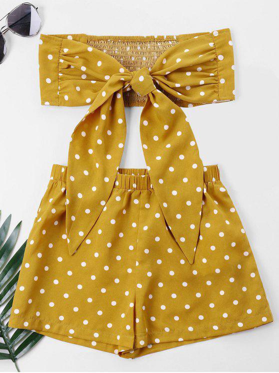 Polka Dot Tube Top e Shorts Set - Ônibus Escolar Amarelo XL