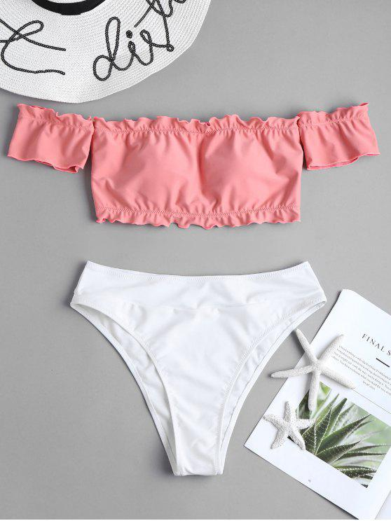 women Two Tone Off Shoulder Bikini - LIGHT CORAL M