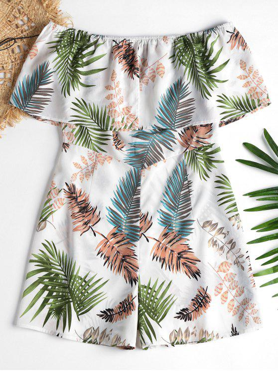 latest Leaves Print Off Shoulder Romper - MULTI S
