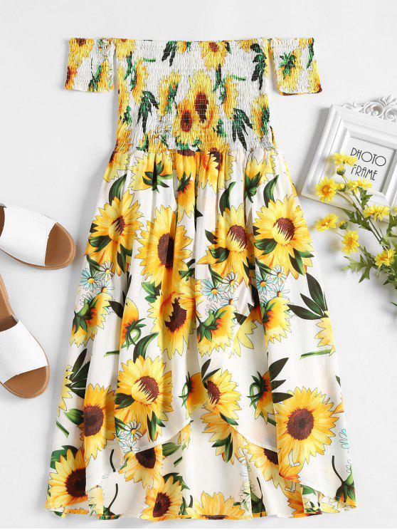 فستان سموكيد عباد الشمس - أبيض L