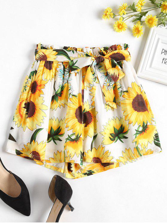 affordable Sunflower Belted Wide Leg Shorts - WHITE L