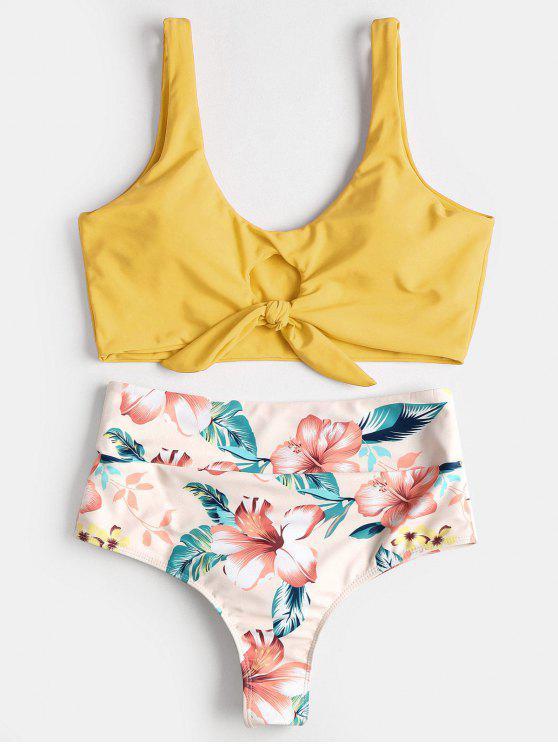 Conjunto de Bikini Anudado con Pliegues Florales Anudados - Caucho Ducky Amarillo M