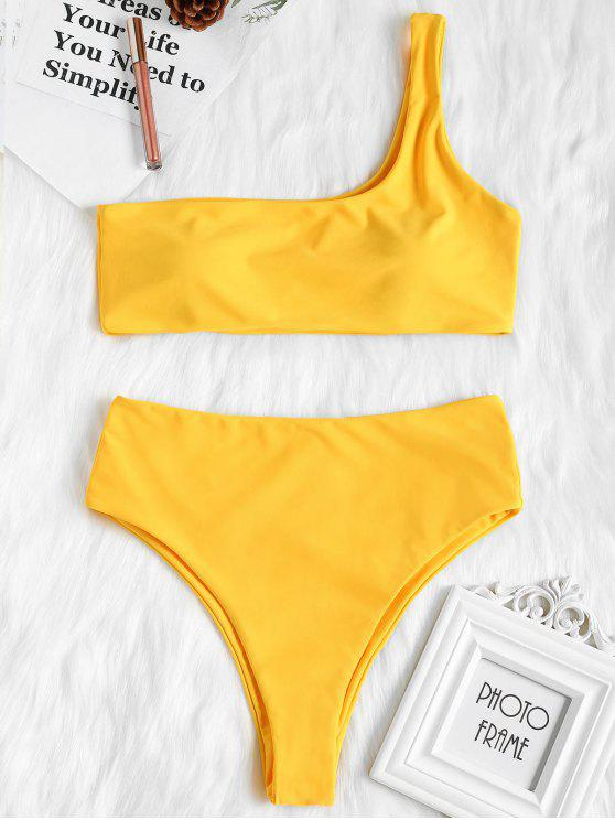 outfits One Shoulder High Waisted Bikini Set - BRIGHT YELLOW M