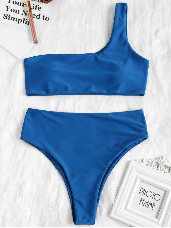 trendy One Shoulder High Waisted Bikini Set - BLUE EYES S