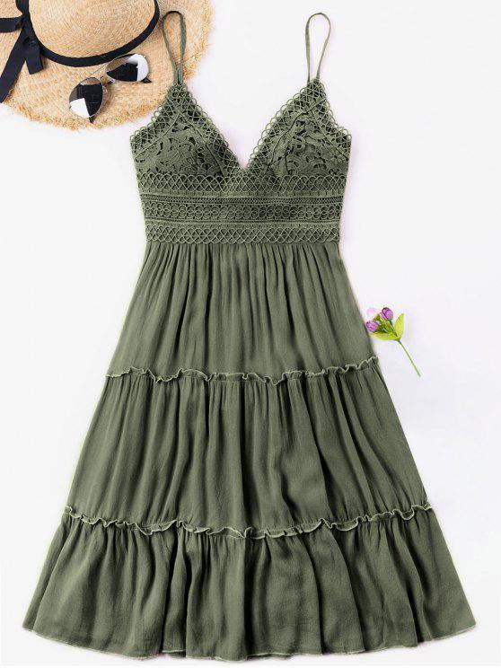 Vestido de espalda de ganchillo con cintura y lazo - Verde Marrón Claro XL