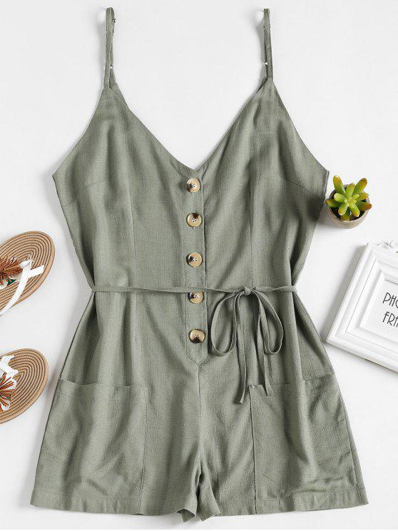 affordable Buttoned Belted Romper - ARMY GREEN M