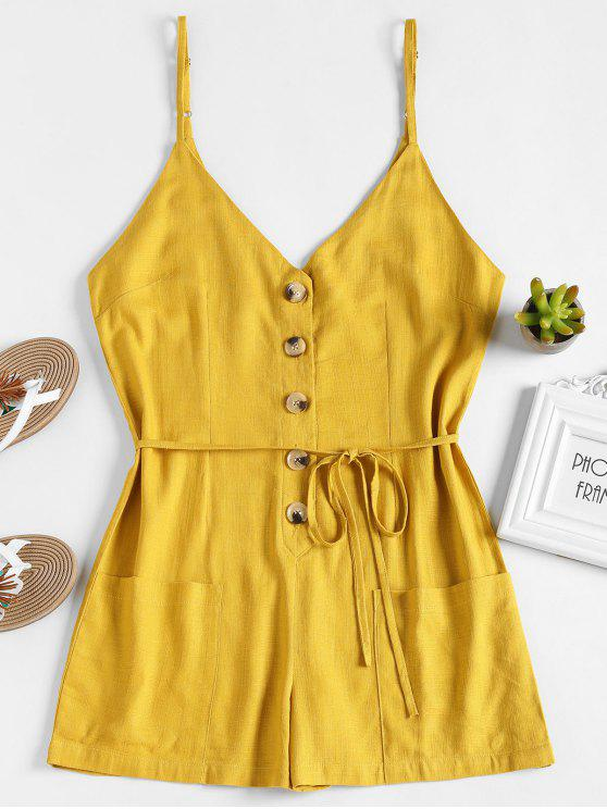 women's Buttoned Belted Romper - HARVEST YELLOW L
