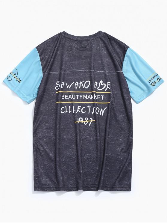 T-shirt de beisebol de manga curta impressa - Cinzento 2XL