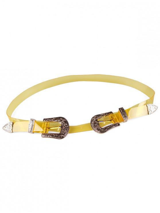 outfit Unique Double Head Buckle Jelly Waist Belt - CORN YELLOW
